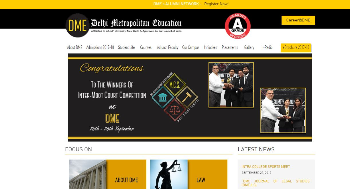 Home Page of Official Website of the College