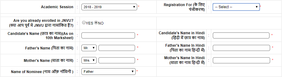 Application Form-Jai Narain Vyas University, Jodhpur