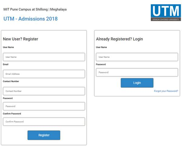 Application Form-University of Technology and Management, Shillong