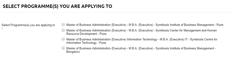 Application Form-Symbiosis Institute of Business Management, Bengaluru
