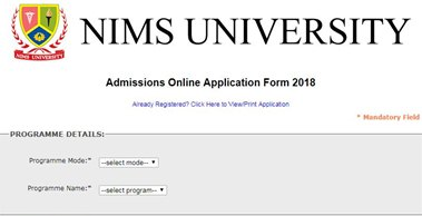 Online Application From- NIMS University, Jaipur