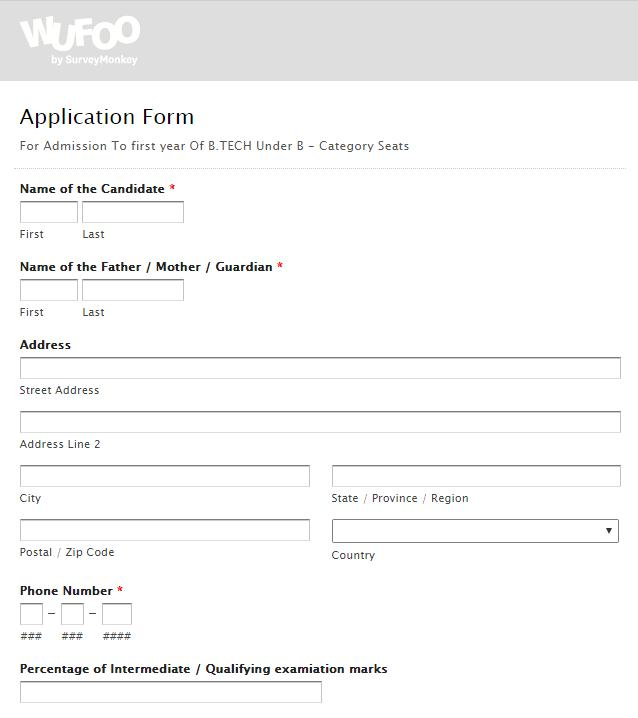 Application Form- UCET, Guntur