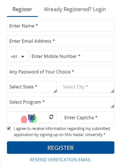 UG Registration Form - Shiv Nadar University, Greater Noida