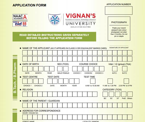 Application Form - Vignan University, Guntur