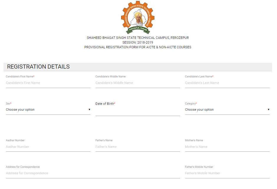 Application Form - Shaheed Bhagat Singh State Technical Campus, [SBSSTC]