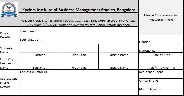 Application Form-Xaviers Institute of Business Management Studies, Hyderabad