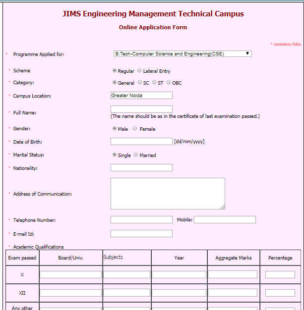 Application form - JIMS, Greater Noida