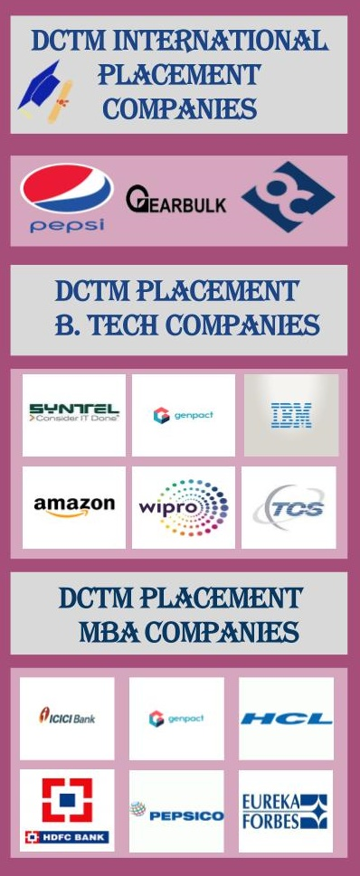 Delhi College of Technology and Management, [DCTM] Palwal Placements