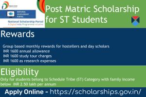 Post Matric Scholarship for ST Students