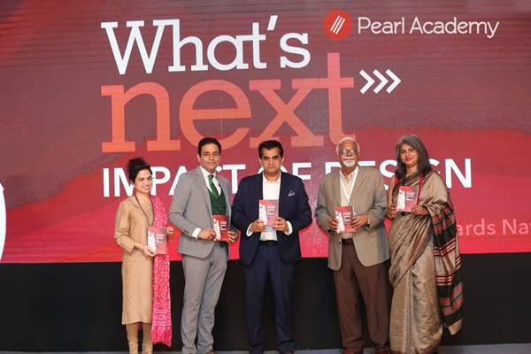 Niti Aayog CEO, Amitabh Kant releasing the book What's Next - The Impact Of Design Towards Nation Building. Also, present were Ramneek K. Majithia, Dean, Academic Design and Innovation, Pearl Academy; Sharad Mehra, President, Creative Arts Education Society; Prof. Vikas Satwalekar, Former Executive Director, NID and Prof. Nandita Abraham, President, Pearl Academy