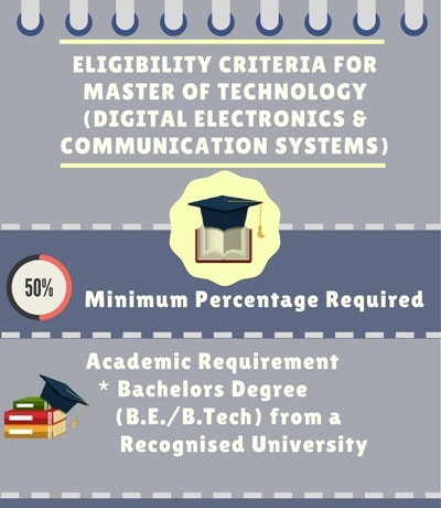 Eligibility Criteria for Master of Technology [M.Tech] (Digital Electronics & Communication Systems)