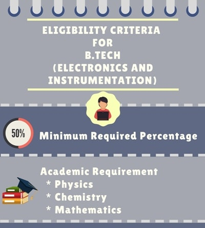 eligibility criteria for BTech in electronics and instrumentation engineering