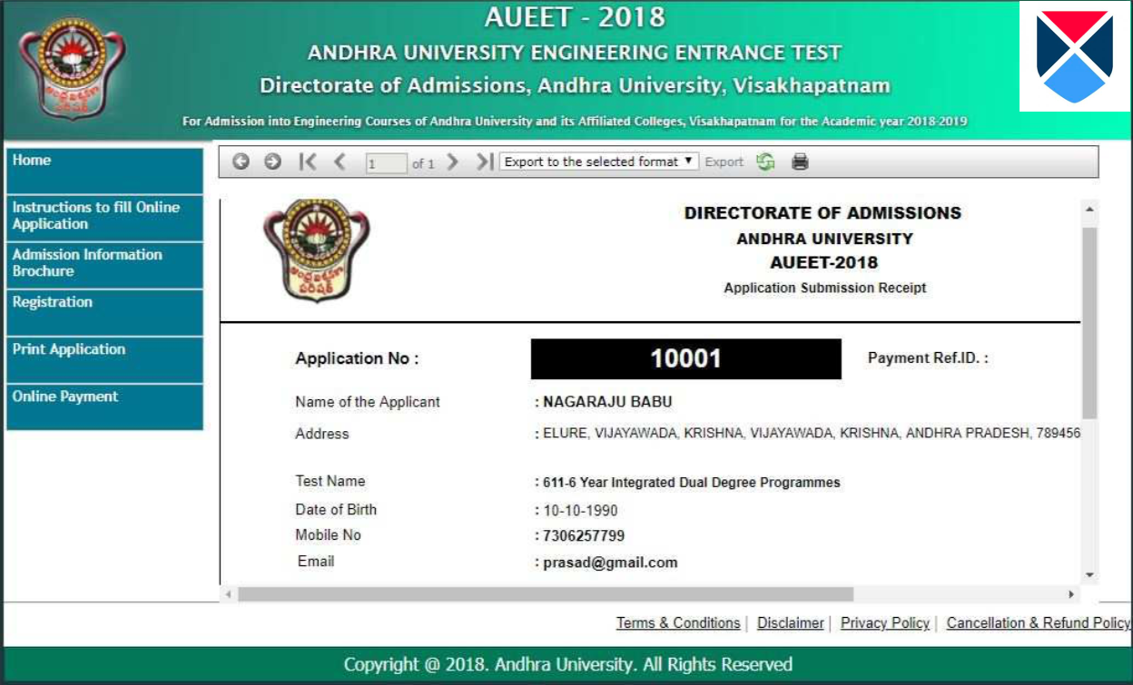 AUEET 2018 Application Process