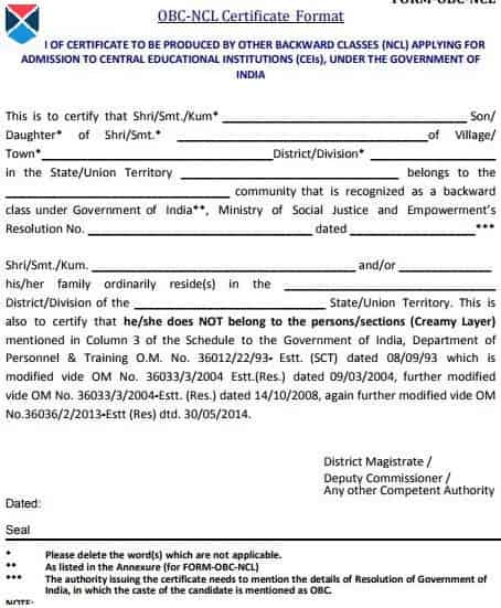 OBC NCL certificate
