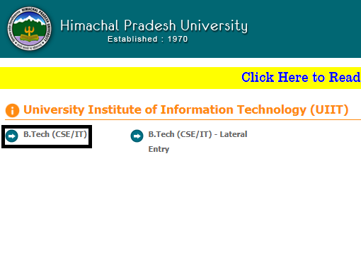 UIIT HPU CET 2019 Application Process