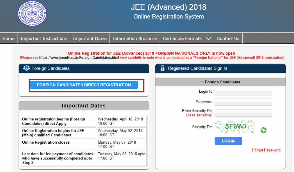 JEE advanced registration for foreign candidates