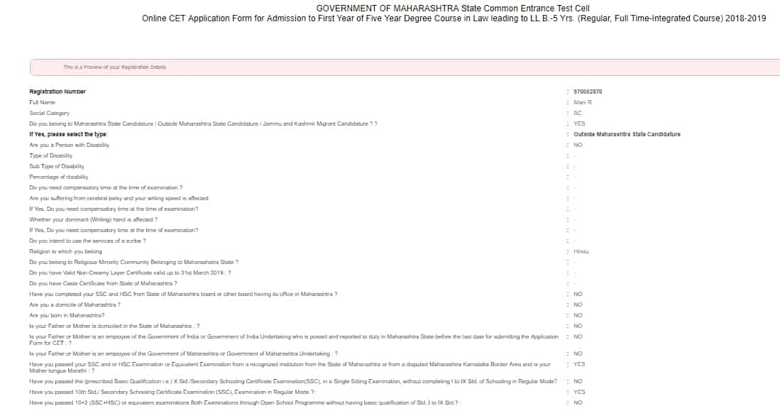 MH CET Law Application form