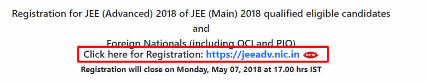 JEE ADVANCED registration link