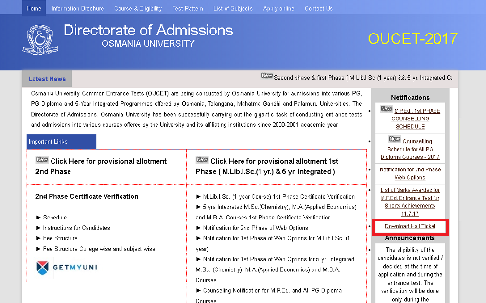 OUCET 2019 Admit card