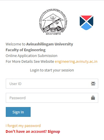 Login Portal For AAEEE Online Application Fill up