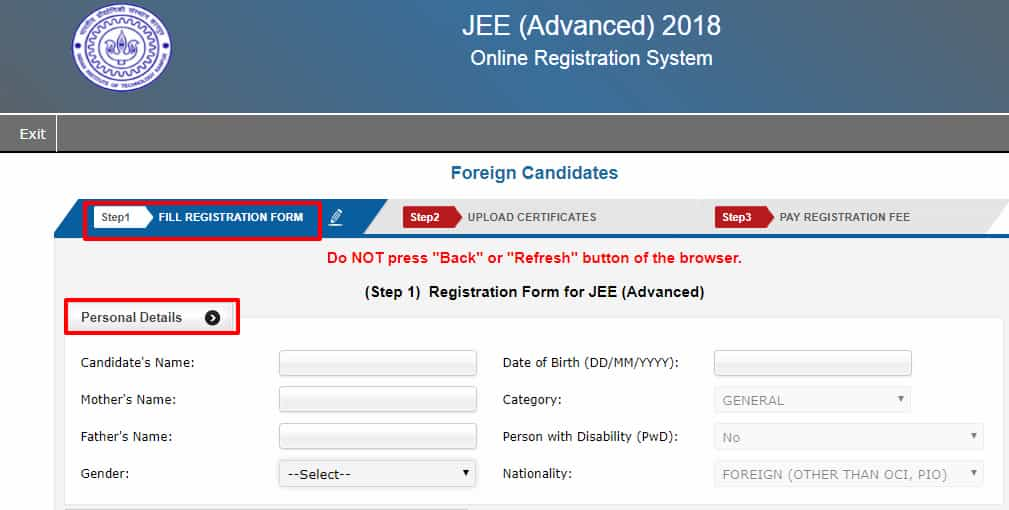 JEE advanced registration form