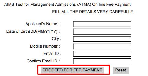 ATMA Application Fee Payment