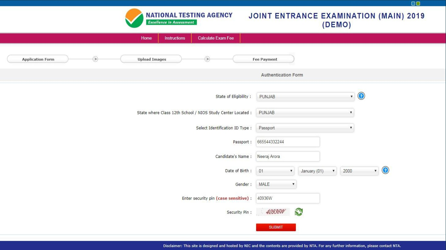 JEE Main 2019 Application Form