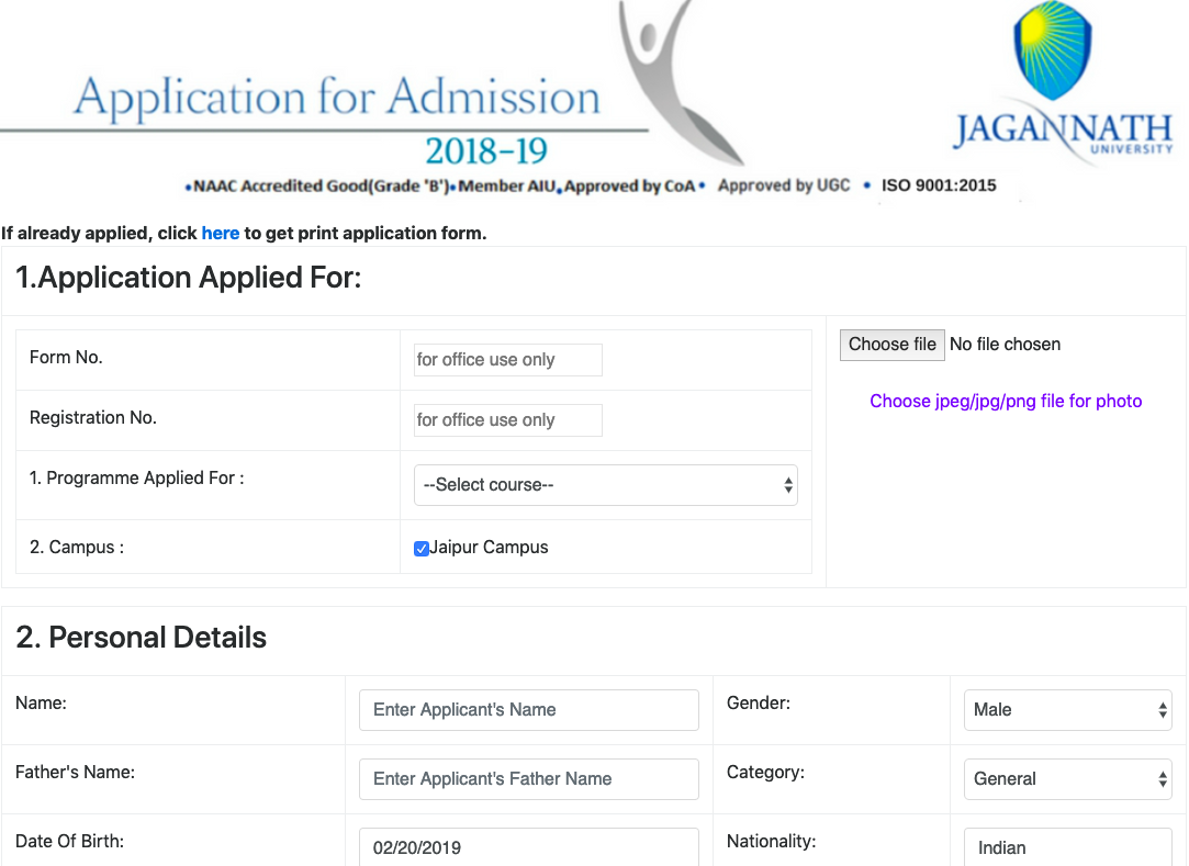 Jagannath University Application Form