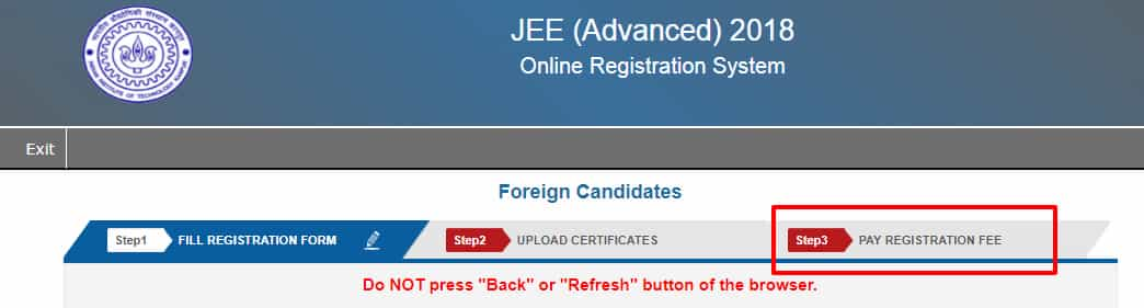 JEE advanced fee payment