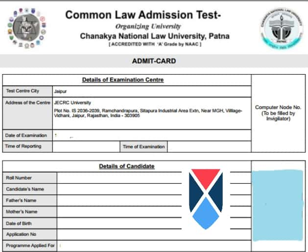 Print out of CLAT Admit Card