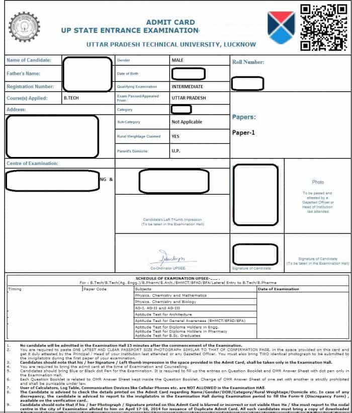 UPSEE 2018 Admit card UPTU 2019