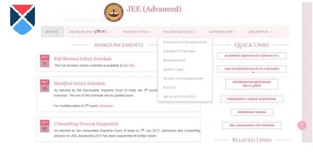 JEE advanced Result Page