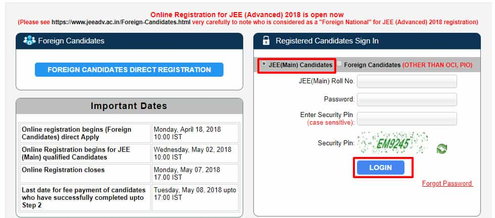 JEE ADVANCED login