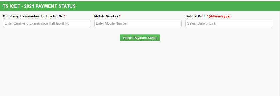 TS ICET Fee Payment status