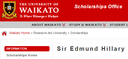 Sir Edmund Hillary Scholarships 2015 at University of Waikato, New Zealand